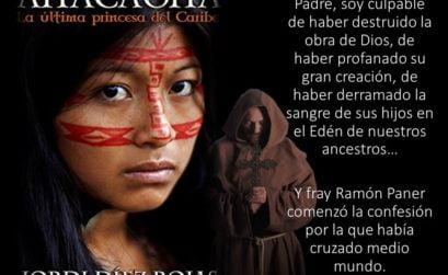 Portada y contraportada de la novela Anacaona, la última princesa del Caribe