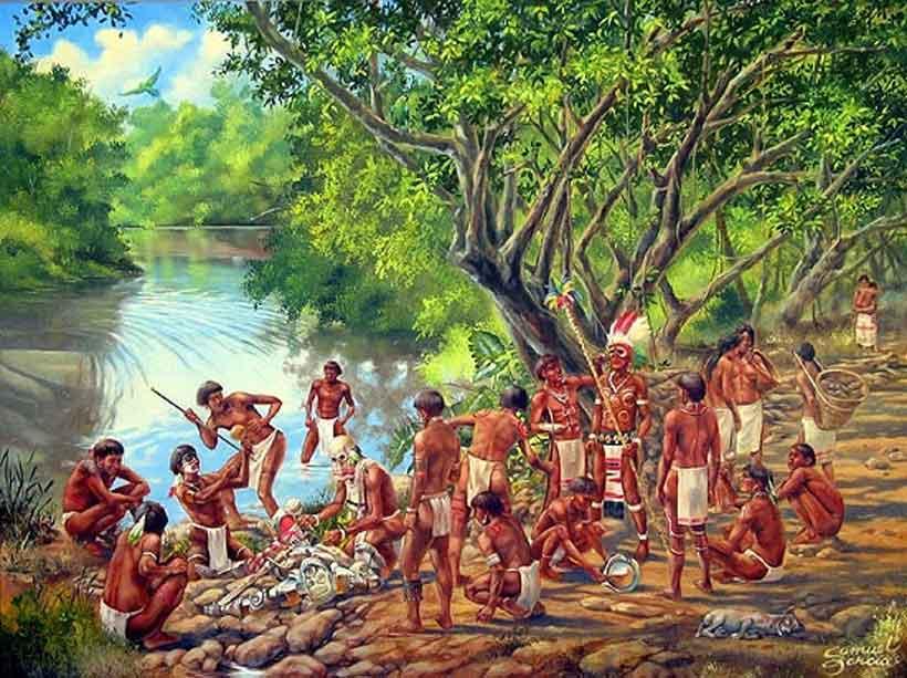 Escena cotidiana del pueblo taíno en libertad
